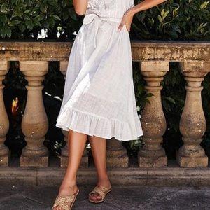 Ruffle Hem Textured Cotton Midi Skirt